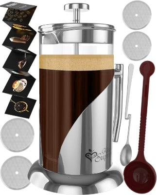 French Press Coffee & Tea Maker with Double German Glass & Stainless Steel, 34 Oz.