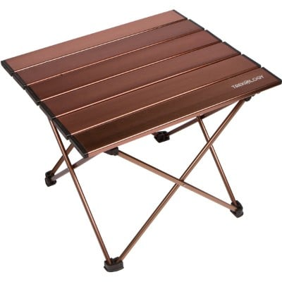 Trekology Portable Camping Tables with Aluminum Table Top, Hard-Topped Folding Table in a Bag