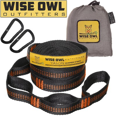 Wise Owl Outfitters Tree-friendly Hammock Straps, 20ft, Black