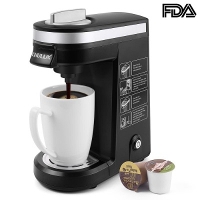 CHULUX Single Serve Coffee Maker Brewer with 12 Oz. Water Tank (Black)