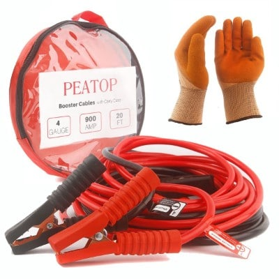 Peatop 20 Feet Jumper Cables, 4AWG