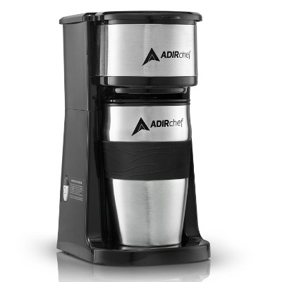 AdirChef Grab N' Go Personal Stainless Steel Coffee Maker, Black