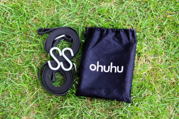 Ohuhu Hammock Tree Straps with 2 Carbines and S Hooks, 2-piece, Black