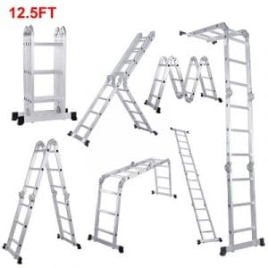 Lifewit 12.5ft Folding Ladder Aluminum Extension 7 in 1 Multi Purpose Extendable Ladder