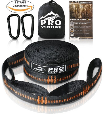 Pro Hammock Tree Hanging Straps with Carabiners, 400 lbs