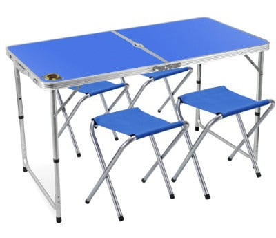 Edoking Folding Table with 4 Folding Stools Height Adjustable Aluminum Camping with Parasol Hole