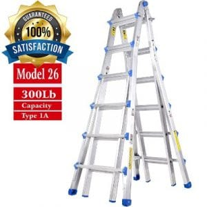 TOPRUNG Model-26 ft. Aluminum Extension Multi-Purpose Ladder with 300 lb. Load Capacity