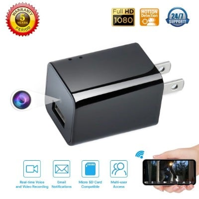 USB Phone Charger 1080p HD Spy Camera with Motion Detection