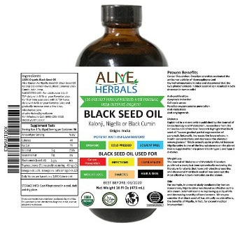 Alive Herbal Black Seed Oil Cold Pressed Organic