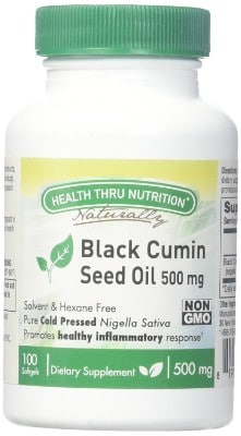 Health Thru Nutrition Black Cumin Seed Oil Non-GMO 500Mg Softgels First Cold Pressed, 100 Count