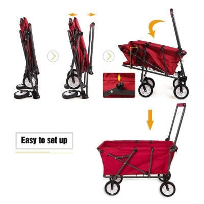 REDCAMP Collapsible Wagon Cart, Folding Utility Wagon, Red