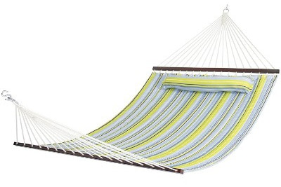 Best Choice Products Hammock Quilted Fabric With Pillow Double Size Spreader Bar