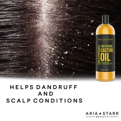 Aria Starr Castor Oil Cold Pressed - 16 FL OZ - BEST 100% Pure Hair Oil For Hair Growth