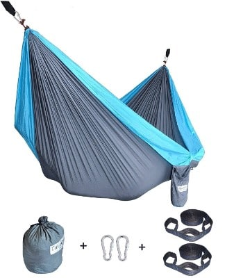 Cutequeen Double Nest Parachute Camping Hammock with Tree Straps
