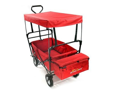 Summates Collapsible Folding Utility Wagon, Garden Cart, Outdoor, Shopping (Red)