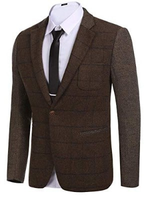 COOFANDY Men's Elegant Regular Fit One Button Plaid Tweed Dress Suit Blazer Jacket