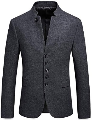 Mandarin Collar Blazer Jacket for Men Smart Casual Wool Tweed Sports Jackets Slim Fit
