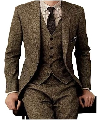 Men's Tweed Herringbone Check Tan Tuxedos Groom Slim Fit Formal Vintage 3 Pieces Suit