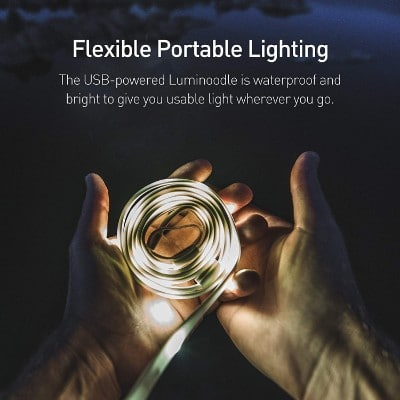 Luminoodle - The Original LED Light Rope for Camping - Waterproof USB Powered LED String Lights