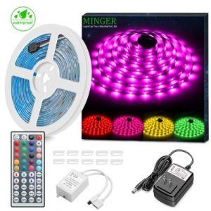 MINGER LED Strip Light Waterproof 16.4ft RGB SMD 5050 LED Rope Lighting Color Changing