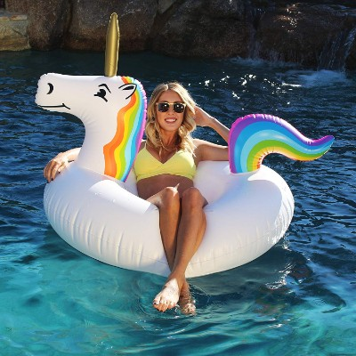 GoFloats Unicorn Pool Float Party Tube - Inflatable Rafts