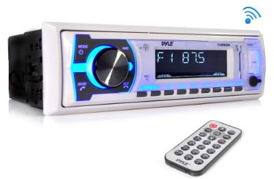 Pyle Marine Bluetooth Stereo Radio - 12v Single DIN Style Boat In-dash Radio Receiver System