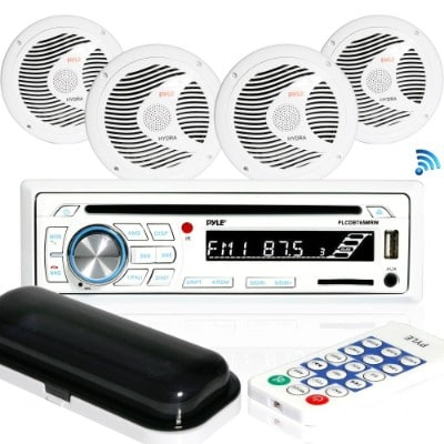 Marine Stereo Receiver Speaker Kit - in-Dash LCD Digital Console