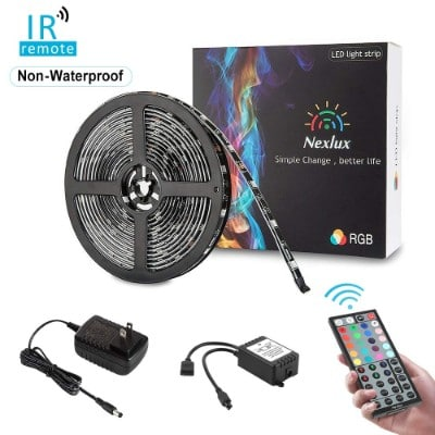 Color Changing Light Strip, Nexlux 16.4ft LED Strip Lights 5050 SMD RGB