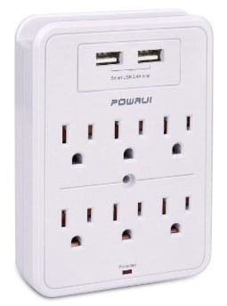 Surge Protector, POWRUI USB Wall Charger with 2 USB Charging Ports