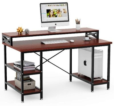 Tribesigns Computer Desk with Storage Shelves, 55 Large Modern Office Desk Computer