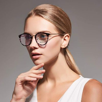 DONNA Stylish Clear Lens Frame Glasses Small Circle Blue Light Blocking