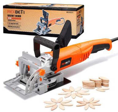REXBETI Wood Biscuit Plate Joiner Kit with 4 Inch Tungsten Carbide Tipped Blade and 100pcs Wood Connecting Plates