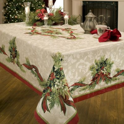 Benson Mills Christmas Ribbons Engineered Printed Fabric Tablecloth