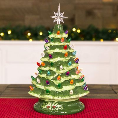 Best Choice Products 15in Pre-Lit Hand-Painted Ceramic Tabletop Artificial Christmas Tree Decor
