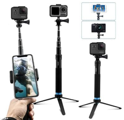 AFAITH Upgraded Pole for GoPro, Aluminum Alloy Selfie Stick Tripod