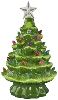 Christmas Is Forever Ceramic Christmas Tree 7 Green with Multicolored Lights