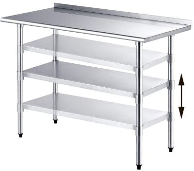 SUNCOO Commercial NSF Stainless Steel Work Table