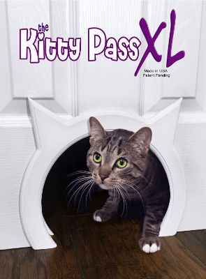 The Kitty Pass XL Large Cat Door, Interior Large Pet Door Hidden Litter Box