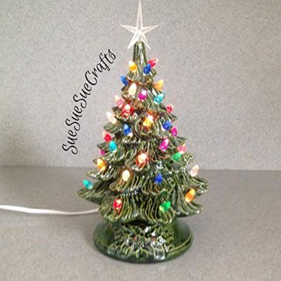 Ceramic Christmas Tree 11 Tall Christmas Lighted Decoration Vintage Style