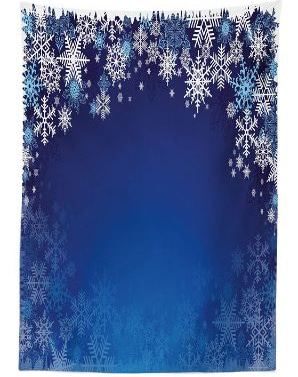 Ambesonne Christmas Tablecloth, Ornamental White Snowflakes