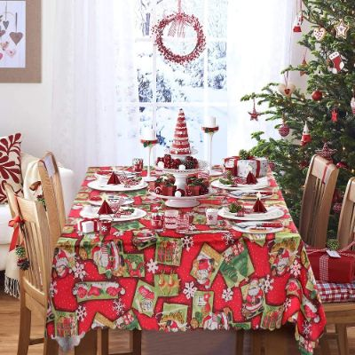 Wmbetter Christmas Tablecloth Santa Snowflake Engineered Printed Xmas Table Runner