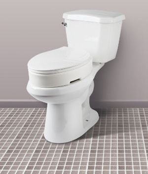 Carex Elongated Hinged Toilet Seat Riser - Adds 3.5 Inches of Toilet Lift, 300 Pound