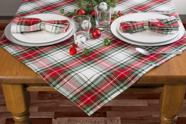 DII Christmas Plaid Square Tablecloth, 100% Cotton