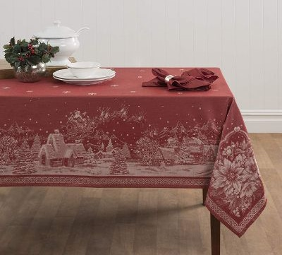 Benson Mills Christmas Story Engineered Jacquard Fabric Tablecloth, 60 by 120