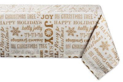 DII 100% Cotton, Machine Washable, Printed Metallic Holiday Tablecloth