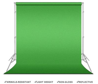 LimoStudio Chromakey Green Screen Background Support with 10' x 20' Green Muslin Backdrop