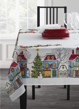 Christmas Village Fabric Printed Tablecloth