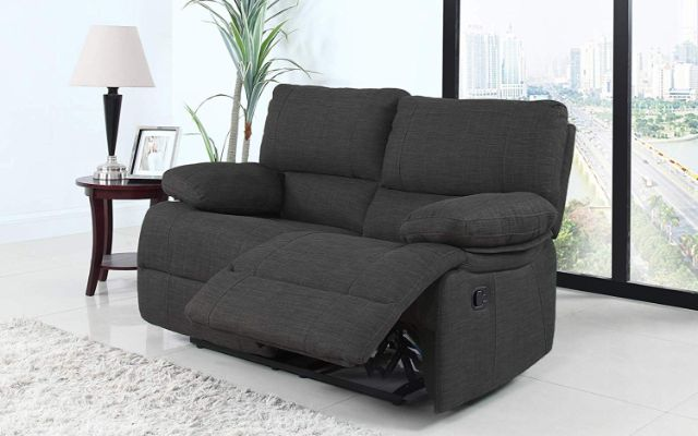 Divano Roma Furniture Classic and Traditional Dark Grey Fabric Oversize Recliner