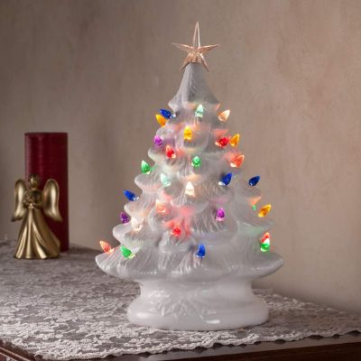 14 Retro Prelit Ceramic Tabletop Christmas Tree With 52 Multicolored Lights