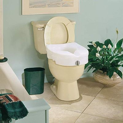 Carex E-Z Lock Raised Toilet Seat, Adds 5 Inches to Toilet Height